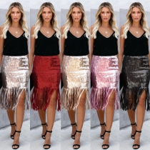 European and American women's autumn new sequins high waist fringed skirt skirt