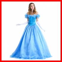 Halloween cosplay Cinderella Snow White Bella adult costume blue evening dress