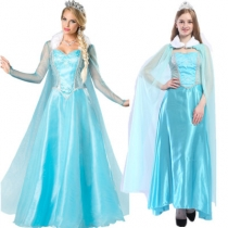 European and American blue court costume Halloween costume Frozen Princess Aisha adult stage costume