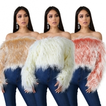 Explosive style European and American women's sexy word shoulder gradient color anti-long fur grass short top