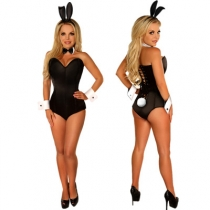 New Black Bunny Bunny Girl Uniform Corset Set + Accessories