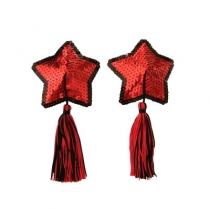 Five-pointed star breast stickers sexy sequins black and red mixed fringed breast stickers underwear blood drops female products
