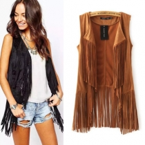 Europe and the United States explosion models fringed coat female deer fur cashmere buttonless long vest vest coat