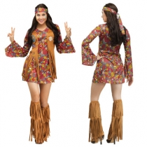 European and American ladies Halloween costumes cosplay sexy 70s retro hippie disco stage costumes