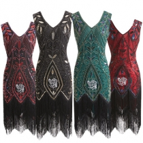 Explosion 1920s retro dress handmade beaded sequin fringed evening dress