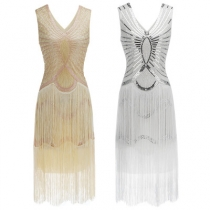 Explosion 1920 sequin handmade beaded sequin dress fringed sleeveless retro dress