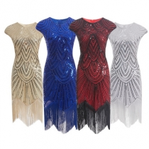 Quality explosion models fringed woven sequin dress 1920 retro European and American movie dress skirt