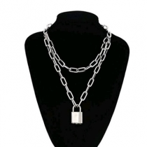 European and American accessories Personalized punk hip-hop lock double-layer thick chain wild sweater chain necklace female