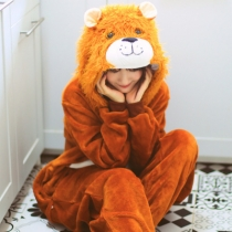 New flannel lion animal one-piece pajamas coral wholesale home service winter couple cute cartoon