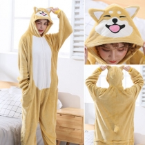 New flannel Shiba Inu animal one-piece pajamas cartoon cute couple long-sleeved home service winter