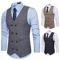 Autumn and winter European and American style new men's woolen double-breasted suit vest fashion casual V-neck vest men