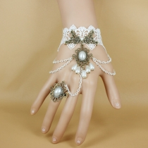 Jewelry original design white lace bracelet with ring one chain gothic jewelry wholesale
