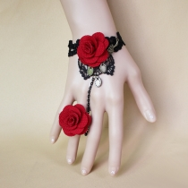 Original Gongyan Retro Black Lace Rose Bracelet with Ring Source Jewelry Wholesale