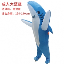 Halloween blue gray shark inflatable clothing adult dance party performance clothing holiday event clothing birthday party