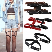Harajuku goth punk street nightclub sexy hard girl loves leather round thigh ring foot ring double row garter belt