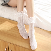 lolita socks Japanese Lolita stockings lace pile stockings female mid-tube socks