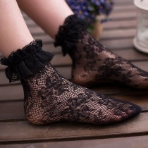 Japanese Lolita black lace socks female spring cute lace crystal stockings princess pile in tube socks summer