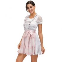 German national traditional beer festival costume temperament pink lace embroidered dress Gina same skirt