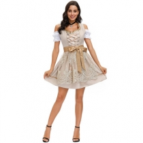Traditional German National Beer Festival Costume, New Munich Khaki Lace Embroidered Maid Dress