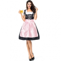 New German Oktoberfest Costume Bar Service Performance Costume Pink Embroidered Beer Beer Girl Actress