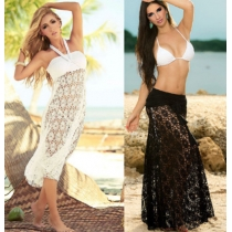 Sexy cover up beach dress hollow out lace foral for ladies