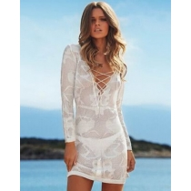 Sexy cover up beach dress hollow out foral hook lace tops dark v for ladies