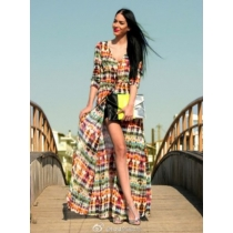 Hot design underwear cover up beach dress printed fashion long causal dress for ladies