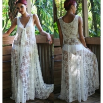Hot design underwear cover up lace hollow out long design beach dress for ladies