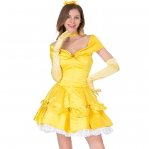 2019 Halloween real shot new fairy tale yellow princess COS clothing dress stage costume yellow princess dress