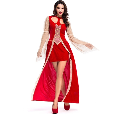 2018 new Halloween costume adult big red skull hollow dress queen dress prom rave party cosplay