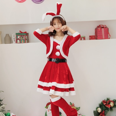 2019 new Christmas rabbit ears Christmas costume cute sweet bunny Christmas set value 6 sets