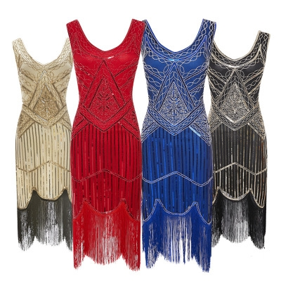 1920 retro sequin fringed dress skirt beaded fringed dress explosion models high-end banquet dress
