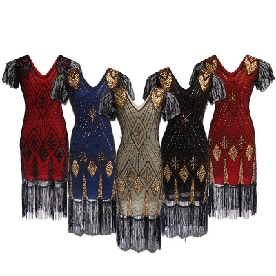 Hot selling European and American high-end sequin dress costume 1920 retro sequin dress