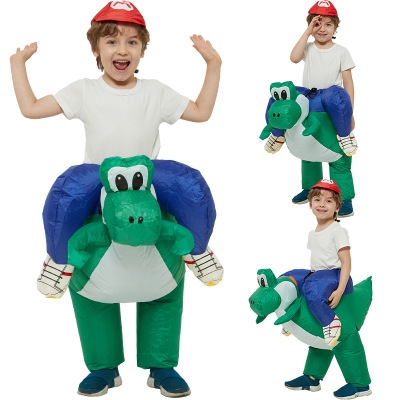 Children's cartoon animal mounts doll doll costume Super Mario Mario ride dinosaur inflatable clothes