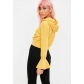 Fall ladies yellow strap hooded speaker sleeve sweater shirt