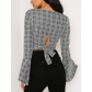 Autumn and winter women's low-cut checked trumpet sleeves behind the strap shirt