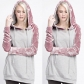 Autumn and winter women's pink gold velvet spell color long-sleeved hooded lace sweater