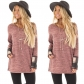 Autumn ladies pink stitching plaid printed round neck long-sleeved T-shirt