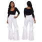 2017 Amazon quality standard hot selling sexy hot multicolor fringed flare pants two-piece