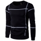 2017 spring new selling simple striped printing men's casual wild round neck sets of sweater