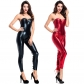 2018 new tube top patent leather suit sexy jumpsuit Pole dance costume DS suit Europe and America game suit