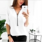 women's wish cross-border products Europe and America zipper shirt loose T-shirt