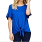 Summer Women's Solid Color Short Sleeve Trumpet Sleeve T-Shirt