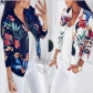 Autumn Explosion Women's Leaf Print Short Baseball Jacket
