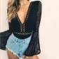 Summer Women's Long Sleeve Lace Panel Low Cut V-neck Cutout Zipper Jumpsuit