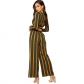 2018 hot sale European and American fashion ladies contrast color stripes V-neck umbilical shirt wide-leg pants two-piece suit