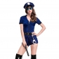 European and American Halloween Costumes Dark Blue Skirts Zipper Police Uniforms Sexy Sets