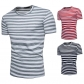 Spring new fashion striped tide suits sizzling explosions men's short-sleeved round neck T-shirt