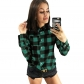 2019 hot sale Europe and the United States autumn plaid casual long-sleeved women's shirt
