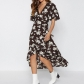 2019 explosion models Europe and the United States sexy V-neck irregular high waist sleeves chiffon print dress